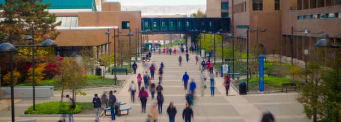 People walking outside at UB North Campus