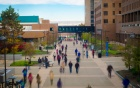 People walking on the North Campus academic spine