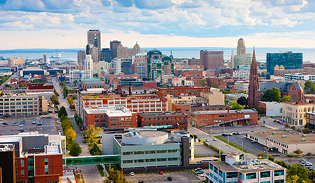 downtown campus with city of Buffalo in the background