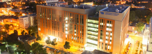 The Medical School Building housing the Jacobs School of Medicine and Biomedical Sciences